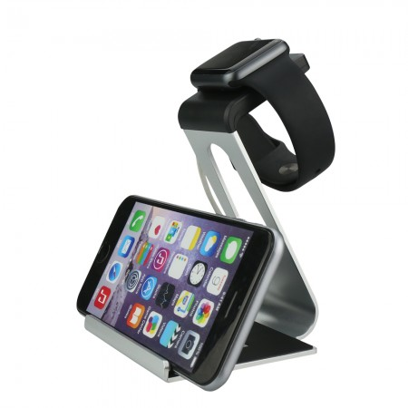 LUVVITT Dual Charging Stand for Apple Watch and iPhone (LUV-1036) - Silver