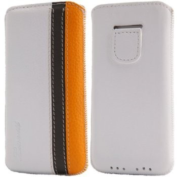 LUVVITT Genuine Leather Pouch Case for iPhone 5 / 5S / 5C - White/Grey/Yellow