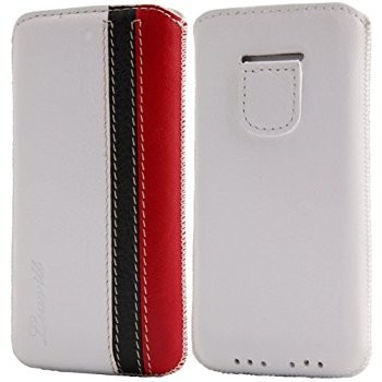 LUVVITT Genuine Leather Pouch Case for iPhone 5 / 5S / 5C - White/Black/Red
