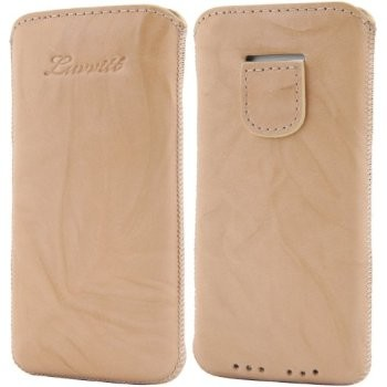 LUVVITT Genuine Leather Pouch Case for iPhone 5 / 5S / 5C - Beige
