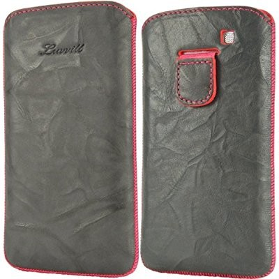 LUVVITT Genuine Leather Pouch for Samsung Galaxy S3 SIII - Gray / Pink