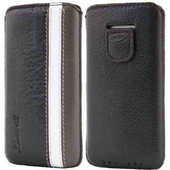 LUVVITT Genuine Leather Pouch Case for iPhone 5 / 5S / 5C - Black/White/Gray