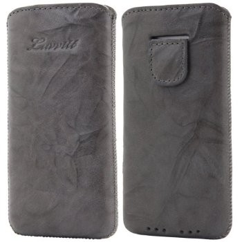 LUVVITT Genuine Leather Pouch Case for iPhone 5 / 5S / 5C - Gray