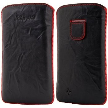 LUVVITT Genuine Leather Pouch for Samsung Galaxy S4 - Black / Red