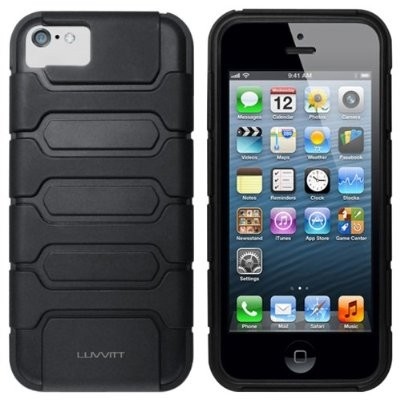LUVVITT ARMOR SHELL Double Layer Shock Absorbing Case for iPhone 5C - Black