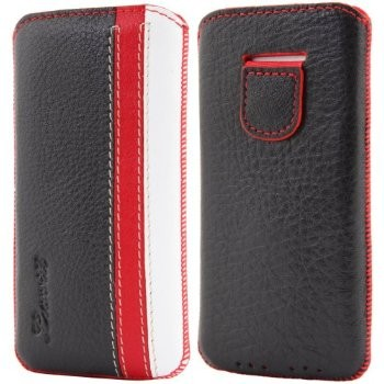 LUVVITT Genuine Leather Pouch Case for iPhone 5 / 5S / 5C - Black/Red/White