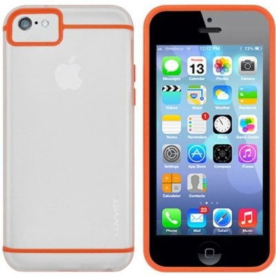 LUVVITT HYBRID Slim Clear Back Case with Bumper for iPhone 5C - Clear / Orange