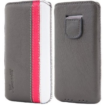 LUVVITT Genuine Leather Pouch Case for iPhone 5 / 5S / 5C - Gray/Pink/White
