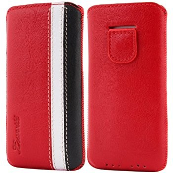 LUVVITT Genuine Leather Pouch Case for iPhone 5 / 5S / 5C - Red/White/Black