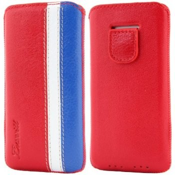 LUVVITT Genuine Leather Pouch Case for iPhone 5 / 5S / 5C - Red/White/Blue