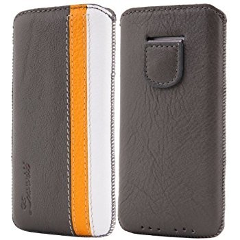 LUVVITT Genuine Leather Pouch Case for iPhone 5 / 5S / 5C - Gray/Yellow/White