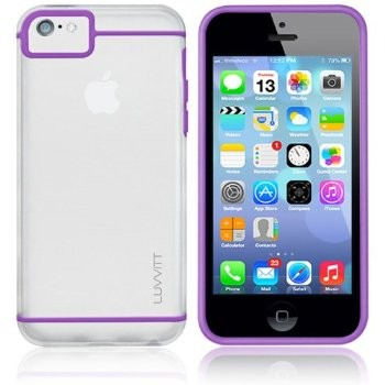 LUVVITT HYBRID Slim Clear Back Case with Bumper for iPhone 5C - Clear / Purple