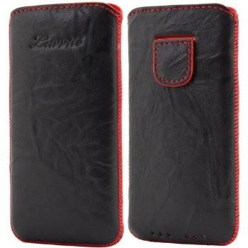 LUVVITT Genuine Leather Pouch Case for iPhone 5 / 5S / 5C - Black / Red