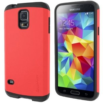 LUVVITT ULTRA ARMOR Galaxy S5 Case Dual Layer Shock Absorbing Case - Black/Red