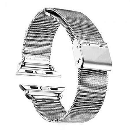 LUVVITT Stainless Steel Apple Watch Band Milanese Loop 42mm (LUV-1016) -Silver