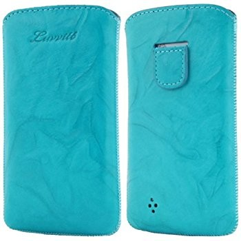 LUVVITT Genuine Leather Pouch for Samsung Galaxy S4 - Turqoise