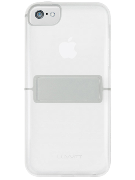 LUVVITT® HYBRID KICKSTAND Clear Back Bumper Case with stand - Clear / Gray