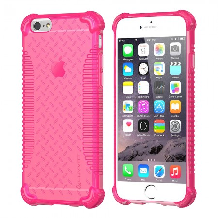 LUVVITT CLEAR GRIP iPhone 6S / 6 Case Soft TPU Rubber Back Cover - NEON Pink