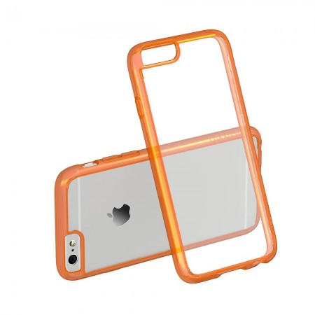 LUVVITT CLEARVIEW Case for iPhone 6S / 6 | Hybrid Back Cover - Neon Orange