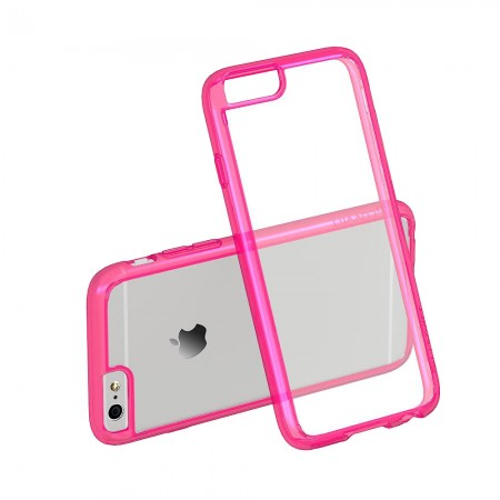 LUVVITT CLEARVIEW Case for iPhone 6S / 6 | Hybrid Back Cover - Neon Pink