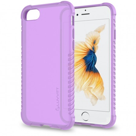 LUVVITT CLEAR GRIP Case for iPhone 7 | Soft TPU Rubber Back Cover - Violet