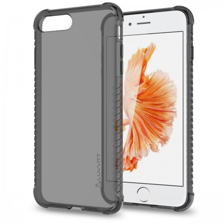 LUVVITT CLEAR GRIP Case for iPhone 7 PLUS | Soft TPU Rubber Back Cover - Black
