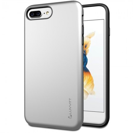 LUVVITT SUPER ARMOR Case for iPhone 7 PLUS | Dual Layer Back Cover - Silver