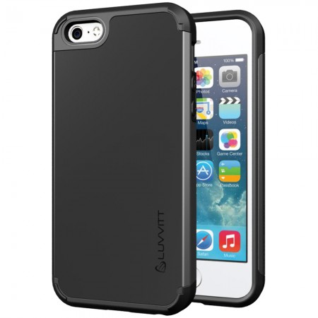 LUVVITT ULTRA ARMOR iPhone SE Case | Dual Layer Back Cover - Black