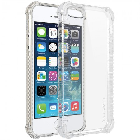 LUVVITT CLEAR GRIP iPhone SE Case Soft TPU Rubber Back Cover - Crystal Clear