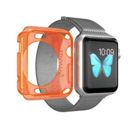 LUVVITT CLARITY Apple Watch Case 42mm - Neon Transparent Orange