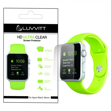 LUVVITT HD ULTRA CLEAR Screen Protector for Apple Watch 38mm (3x Pack)