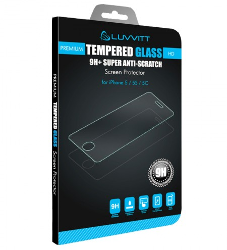 LUVVITT TEMPERED GLASS Screen Protector for iPhone 5 / 5S / 5C - Crystal Clear