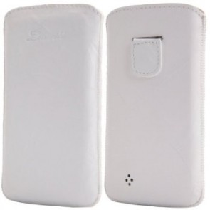 LUVVITT Genuine Leather Pouch for Samsung Galaxy S4 - White