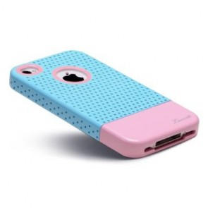 LUVVITT RESPIRA Hard Shell Case for iPhone 4 & 4S - Blue/Pink