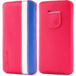 LUVVITT Genuine Leather Pouch Case for iPhone 5 / 5S / 5C - Pink/White/Blue
