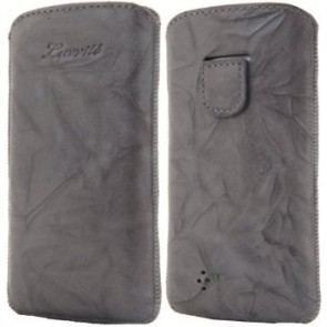 LUVVITT Genuine Leather Pouch for Samsung Galaxy S4 - Gray