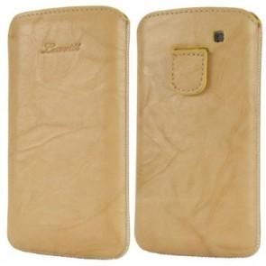 LUVVITT Genuine Leather Pouch for Samsung Galaxy S3 SIII - Beige
