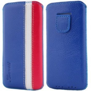 LUVVITT Genuine Leather Pouch Case for iPhone 5 / 5S / 5C - Blue/White/Pink