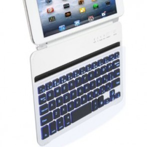 LUVVITT BACKLIT Ultrathin Keyboard Case for iPad MINI 1/2 (7 COLORS) White