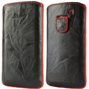 LUVVITT Genuine Leather Pouch for Samsung Galaxy S3 SIII - Black / Red