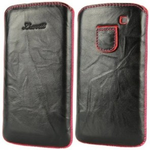LUVVITT Genuine Leather Pouch for Samsung Galaxy S3 SIII - Black / Pink