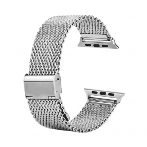 LUVVITT Stainless Steel Apple Watch Band BIG Milanese 38mm (LUV-1016B) -Silver