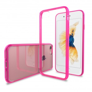 LUVVITT CLEARVIEW Case for iPhone 7 | Hybrid Back Cover - Transparent Pink