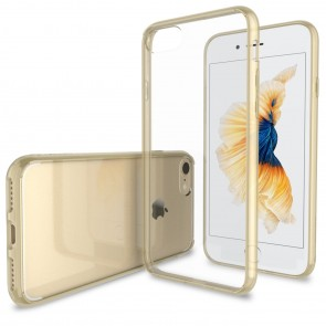 LUVVITT CLEARVIEW Case for iPhone 7 | Hybrid Back Cover - Transparent Gold
