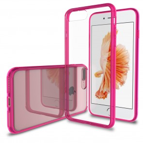 LUVVITT CLEARVIEW Case for iPhone 7 PLUS | Hybrid Back Cover - Transparent Pink