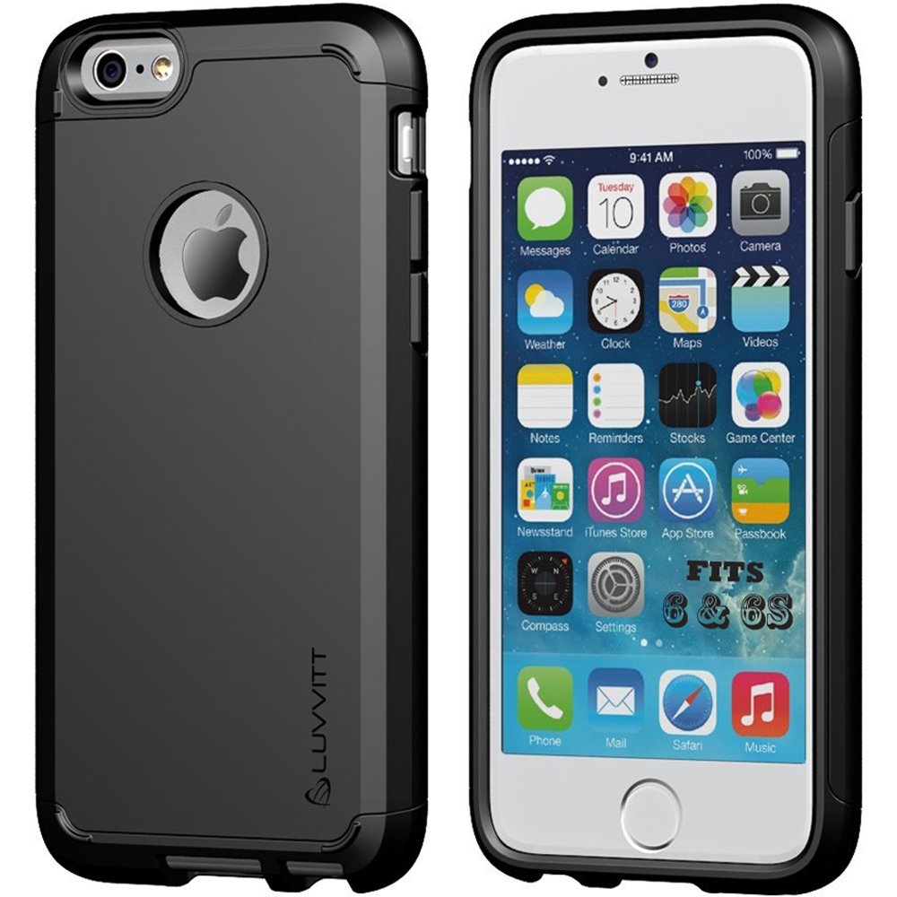 iPhone 6s Case, LUVVITT [Ultra Armor] Shock Absorbing Case Best Heavy Duty Dual Layer Tough Cover for Apple iPhone 6 / iPhone 6s - Black
