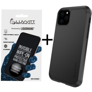 Luvvitt $250 Warranty ULTRA ARMOR Case + Liquid Glass Screen Protector Bundle for iPhone 11 Pro 2019 - Black