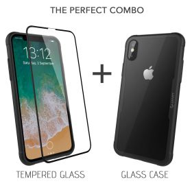 Luvvitt GLASS CASE and Tempered Glass Screen Protector for iPhone X / XS - Clear