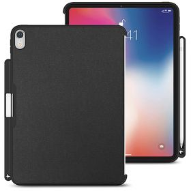 LUVVITT iPad Pro 11 Case (2018) Back Cover with Pencil Holder Compatible with Apple Smart Cover