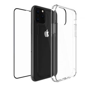 Luvvitt Clear View Case and Tempered Glass Screen Protector Bundle for iPhone 11 Pro 2019